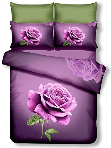 DecoKing Premium 60933Ropa de Cama 155x 220cm, con 1Funda de Almohada de 80x 80púrpura 3D Microfibra edredón de Cama Color Rosa Rose Flores Flores Lila dunkelviolett Lilac Violet Lena