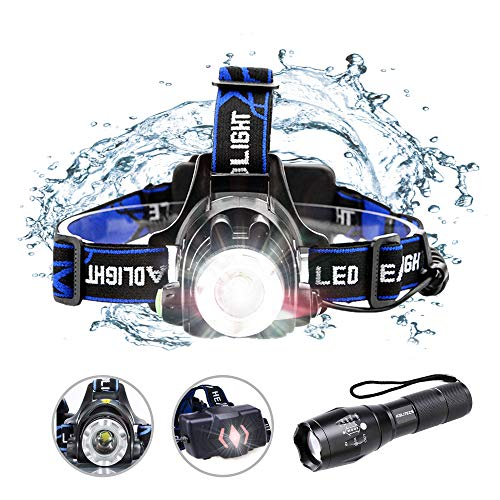 ICELITEZS 2 in 1 Rechargeable Headlamp & Flashlight USB Rechargeable | LED Brightest High 1500 Lumen | IPX4 Waterproof & 18650 Flashlight with Zoomable Work Light | Headlights for Mechanics | Camping