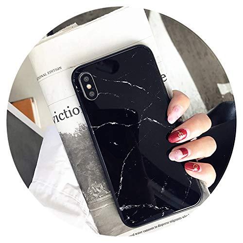 Carcasa de lujo de mármol para iPhone X XS Max XR 8 7 de vidrio templado para iPhone 7 8 Plus 6 6S Fundas, negro, para iPhone 7