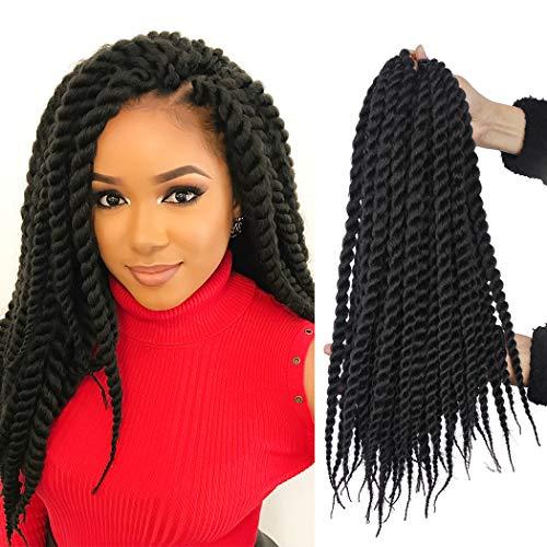 6 Packs 14 Inch Havana Mambo Twist Crochet Braids Senegalese Twist Crochet Hair Havana Mambo Braiding Hair Extensions (1B#)