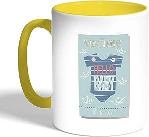 كوب سيراميك للقهوة، لون اصفر،  baby shower بطبعة