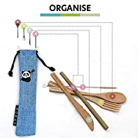 My Little Panda Compact Bamboo Travel Set Eco-friendly and 100% Natural, Reusable Pocket Size Bamboo Cutlery Set Super…