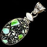 Ana Silver Co Brecciated Green Jasper, Cultured Pearl Pendant 2 1/4' (925 Sterling Silver) - Handmade Jewelry, Bohemian, Vintage PD725378