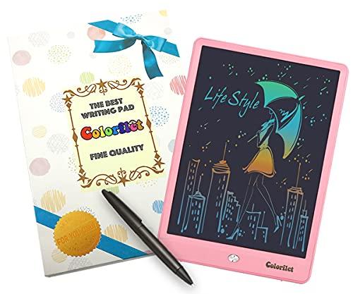 カラー 画面 軽くて持ち運び便利  Booberg お絵かきボード 電子 電子メモ パッド 10インチ 子供 お絵描きタブレット カラフル (ピンク)