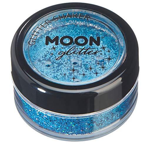 Holographic Glitter Shakers par Moon Glitter - 100% cosmétiques paillettes pour le visage, le corps, les ongles, les cheveux et les lèvres - 5g - Bleu