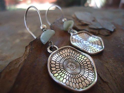 ✿ BOHO ETHNO MANDALA AMAZONIT STEIN ✿ lange Haken Ohrringe - einmaliges Geschenk - handgefertigt