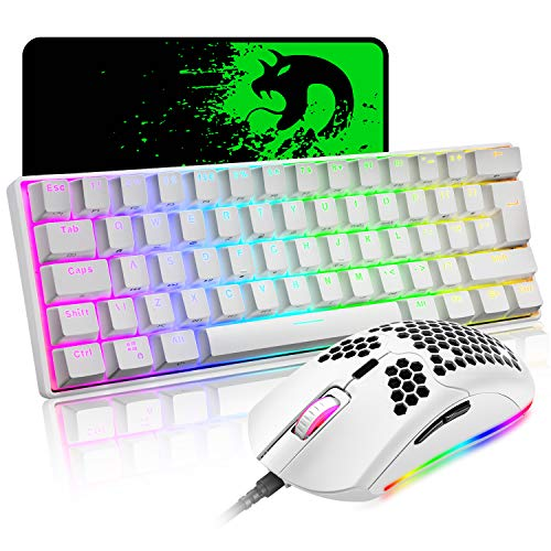 Mechanical Gaming Keyboard and Lightweight Honeycomb Mouse Combo with Rainbow RGB Backlit Full Anti-ghosting 61 Key Ergonomic Programmable Mice Wired USB for Laptop PC Gamer Typist(White/Blue Switch)