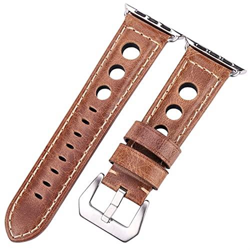 YYCHER Correa de piel para reloj Apple de 42 mm 38 mm para mujer y hombre de 44 mm y 40 mm Series 5 4 3 2 (color de la correa: plata bronce, ancho de la correa: serie 1, 2, 3, 42 mm)