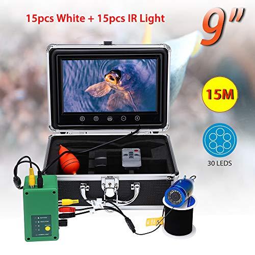 La Cámara Subacuática De La Pesca, 15 del PCS del Blanco LED + Lámpara De Infrarrojos Video Buscador De Los Pescados De La Pantalla De 9 Pulgadas W Función/DVR para Hielo, Lago, Barco, Pesca