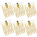 Juinte 6 Pieces Alloy Queen Bee Hair Side Combs Honeybee Golden Hair Combs Pins Clips Hair Accessories for Women Girls Cosplay Jewelry Accessories Party Supplies, Gold
