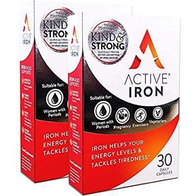 Active Iron (2 PACKS)   Iron Tablets   Ferrous Iron Sulphate Supplement   Clinically Proven   2-Months Supply