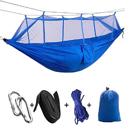 2-in-1 campinghangmat met klamboe en parasoldoek en boombanden voor 2 / tweepersoons, draagbare parachute Nylon lichtgewicht grote pop-up schommelhangmat met insecten- / insectennet