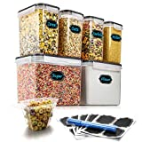 Airtight Food Storage Containers - Wildone Cereal & Dry Food Storage Container Set of 6 (Black Lid),...