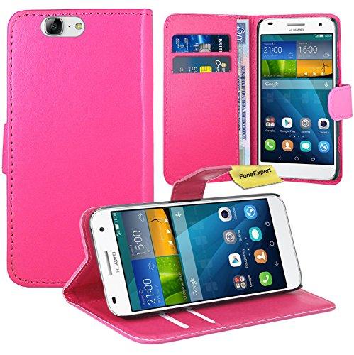 Huawei Ascend G7 Handy Tasche, FoneExpert® Wallet Hülle Flip Cover Hüllen Etui Ledertasche Lederhülle Premium Schutzhülle für Huawei Ascend G7 (Rosa)