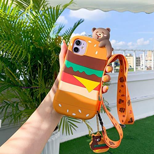 HNZZ Tmrtcgy Caja Linda del Oso de la Historieta para el iPhone 12 11 Pro XS MAX Funda de Silicona para iPhone 12 Mini XR x 7 8 Plus Cases Anillo de Correa (Color : CC15 F2, Size : Iphone7 8)