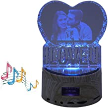 Customized Crystal Photo Picture 3D Engraved Wedding Memorial Wife Girlfriend Birthday Gifts for Husband Boyfriend(,Colorful,5.6x3.5)