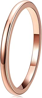 THREE KEYS JEWELRY 2mm 4mm 6mm 8mm Tungsten Wedding Ring for Women Mens Plated Rose Gold Polished Band