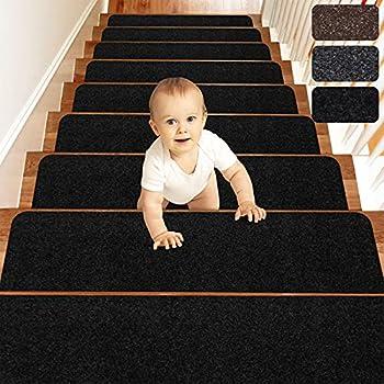 MATAHUM Stair Treads Carpet Non-Slip for Runner Wood Stairs Covers  15-Pack  Indoor for Dogs Elders and Kids 8  X30   Black