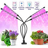 Lampe LED Grow Light pour plantes d'intérieur, 80 LED à spectre complet avec minuterie et 4 têtes et 9 niveaux de variation pour les scies, la croissance florale des fruits
