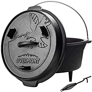 Overmont Camp Dutch Oven Pre Seasoned Cast Iron Lid Also a Skillet Casserole Pot with Lid Lifter for Camping Cooking BBQ Baking 6QT Pot+Lid