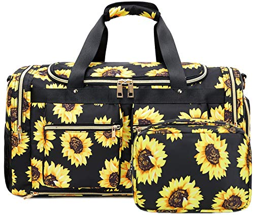 BLUBOON Weekender Bag Women Overnight Duffel Bag Set with Shoe Compartment Carry On Luggage for Women with Toiletry Bag (833 sunflower black)