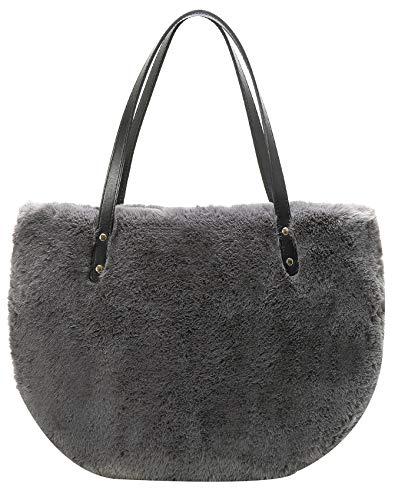 Obosoyo Damen-Handtasche aus Kunstfell, flauschige Handtasche, modische Wintertasche, groß, halbrund, Schultertasche, Grau (Dunkelgrau), Large