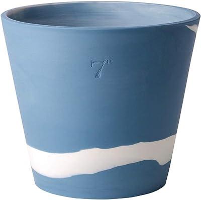 """Wedgwood 40031988 Burlington Flower Pot, 7"""", Blue, White"""