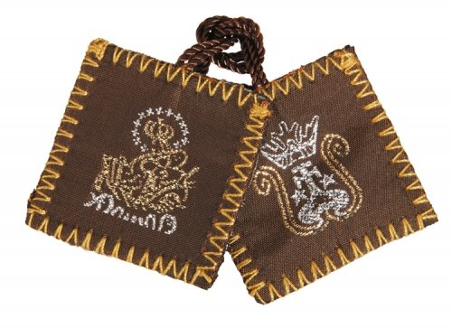 Autom Brown Wool Scapular with Holy Water Bottle - 12/pk