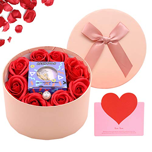 SPECOOL Regalos de San Valentín para Ella, Jabón Flor De Rosa y Vela Aromática, Romántico Ideal para Ella en el día de San Valentín, día de la Madre, Aniversario, cumpleaños