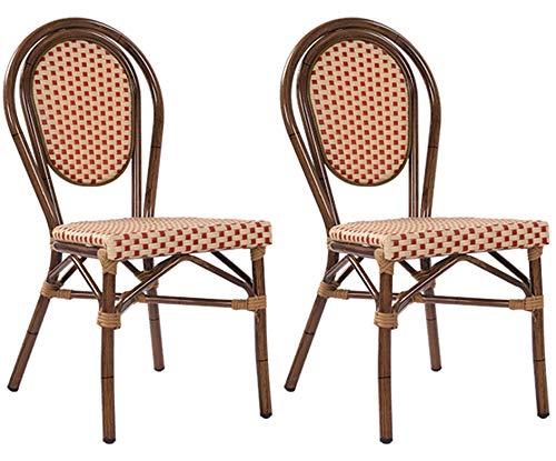 2-er Set Gartenstühle Bambu Bambusoptik Metallstuhl Gartenstuhl Outdoor-Stuhl in beige-rot