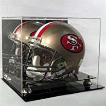 Football Helmet Display Case Full Size Helmet Display Case Mirror Back Black Acrylic Base GLD Risers P368