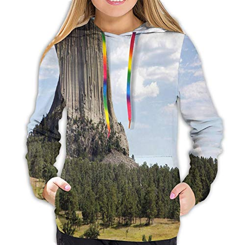 Women's Fashion Hoodies 14231D Print,Landscape Photo of Devils Tower National Monument with Trees and Amazing Sky,Classic Pullover Hooded Sweatshirt,Small