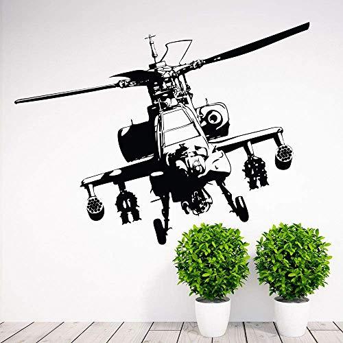 Calcomanía De Pared De Helicóptero Apache Militar De La Fuerza Aérea Del Ejército Pegatina De Decoración Del Hogar Mural De Vinilo 102X137Cm