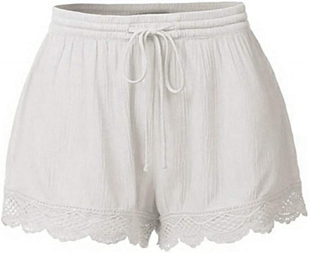 COMVALUE Womens Shorts for Summer,Women's Casual High Elastic Waist Drawstring Wide Leg Flowy Culottes Shorts