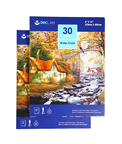 Watercolor Paper Pads 9x12 inch Cold Pressed Art Sketchbook Pads Acid Free for Artist Painting Drawing, 140lb/300gsm, 30 Sheets Each, Pack of 2 Pads