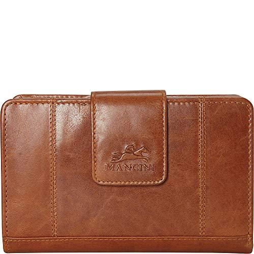 Mancini Leather Goods RFID Secure Medium Clutch Wallet (Cognac)
