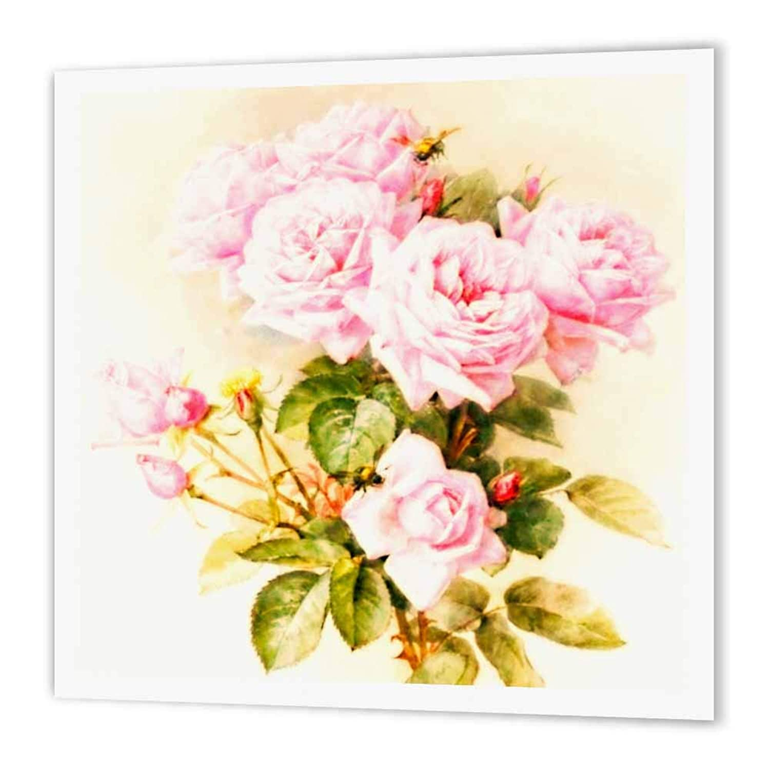 3dRose ht_151447_1 Paul De Longpre Shabby Chic Vintage Pink Roses Sun-Faded Antique Flowers Fine Art Girly Floral Iron on Heat Transfer Paper for White Material, 8 by 8