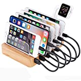 GENESS Charging Station for Multiple Devices, 60W 6 Ports Bamboo USB Charging Station