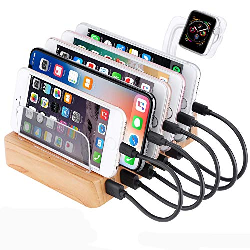 GENESS Charging Station for Multiple Devices, 60W 6 Ports Bamboo USB...