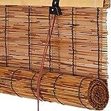 FENGSHOUU Vintage Persianas Enrollable de Caña,Persiana Veneciana de Bambú,Cortina...