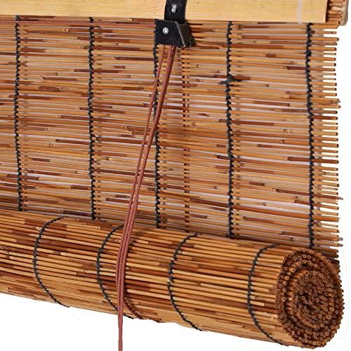 FENGSHOUU Vintage Persianas Enrollable de Caña,Persiana Veneciana de Bambú,Cortina Opacas de Paja Impermeable,Tejidas a Mano Estores de Decoración para Hogar,Personalizar Reed Roller Blinds