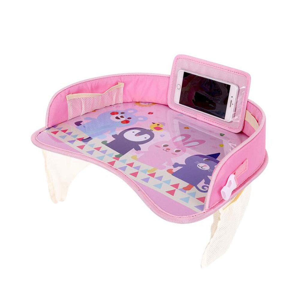 Kids Travel Tray for Toddler Car Seat, Toddler Car Seat Tray Organizer with Sturdy Play Table and Phone Holder, Road Design Enables Snack Play, Pink