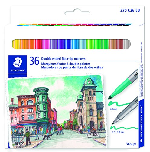 STAEDTLER double ended fiber-tip markers, for sketching, drawing, illustrations, and coloring, 36 vibrant colors, washable, 320 C36 LU