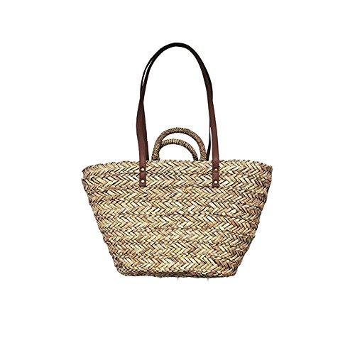 Augproveshak - Cesta de la compra tejida a mano, reutilizable, bolsa de hombro para mujer, con asa superior para ir de compras al aire libre, playa, viajes o vacaciones