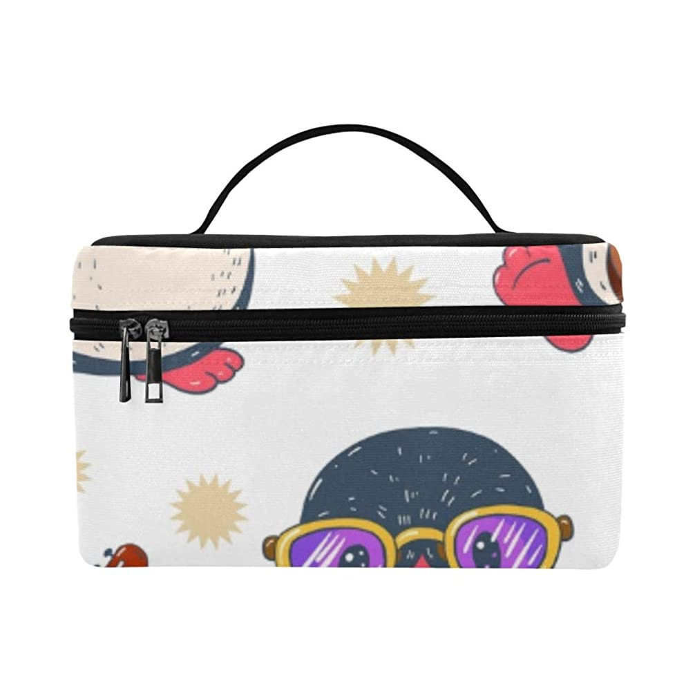 相談押し下げるGGSXD メイクボックス 南極ペンギン コスメ収納 化粧品収納ケース 大容量 収納ボックス 化粧品入れ 化粧バッグ 旅行用 メイクブラシバッグ 化粧箱 持ち運び便利 プロ用