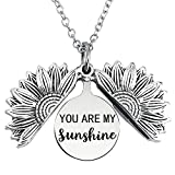 YOUTIFAN You are My Sunshine Necklace, Inspirational Sunflower Locket,Gift for Mom,Sister,Friend,and Girlfriend, Ideal for Birthdays, Christmas Day, Valentines Day