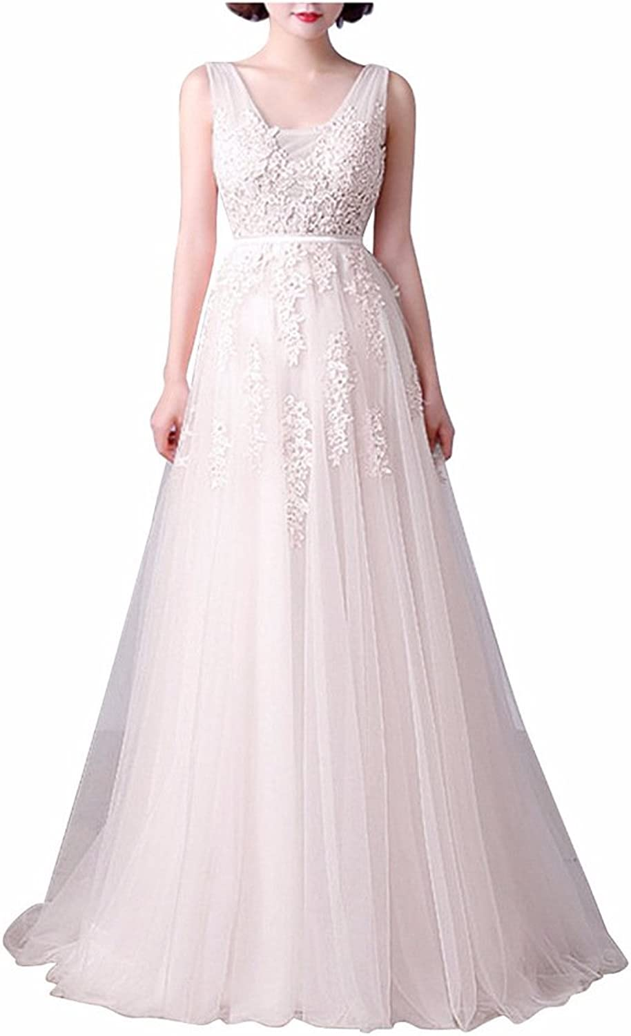 Rieshaneea Womens Long Bridesmaid Dresses Lace Tulle Evening Prom Gown