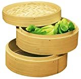 Personal Size Dimsum High Tea 6' Diameter Bamboo Steamer - Stackable Two Baskets With One Lid