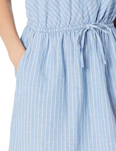 Amazon Essentials Sleeveless Linen Dress, Rayas Azules francesas, M