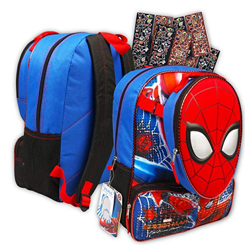 Marvel Spiderman Backpack with Lunchbox for Boys Kids ~ Deluxe 16 Inch Spider-man Backpack, Lunch Bag, and Stickers (Spiderman School Supplies)